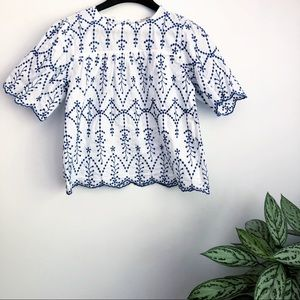 Rebellion embroidered boho scalloped edge top